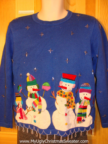 Tacky 80s Ugly Christmas Sweater with Padded Shoulders and Snowmen & Bling (f559)