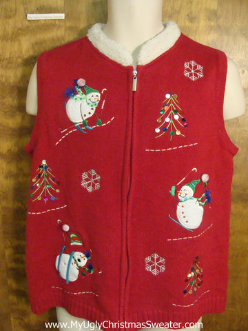 Skiing Snowmen Ugly Sweater Vest for Xmas