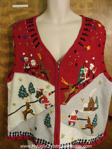 Santa and his Reindeer Delivering Presents Ugly Sweater Vest for Xmas