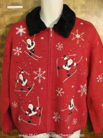 Santa on the Ski Slopes Ugly Sweater for Xmas