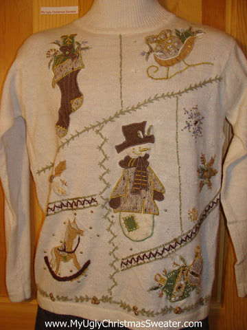 Tacky Cheap Ugly Christmas Sweater with Brown and Tan Stocking, Snowman, Rocking Horse, Sleigh, and Snowflakes (f560)