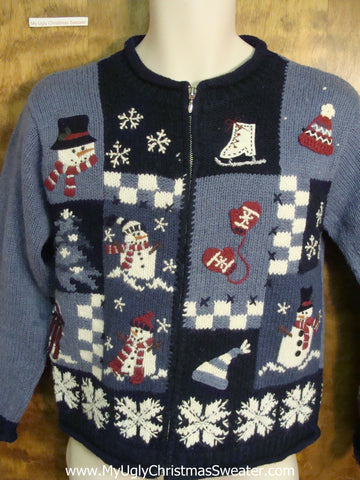Blue Patchwork Ugly Sweater for Xmas