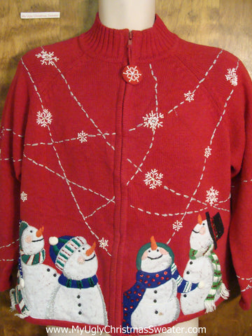 Gazing Snowmen Ugly Sweater for Xmas
