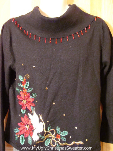 Tacky Cheap Ugly Christmas Sweater Poinsettias and Bling Gems (f561)