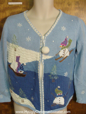 Ugly Sweater Sporty Snowmen for Xmas