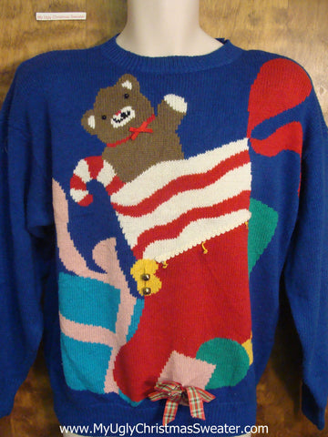 Teddy Bear in Stocking Ugly Sweater for Xmas