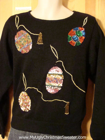Tacky Cheap Ugly Christmas Sweater with Bling Brilliant ornaments (f562)