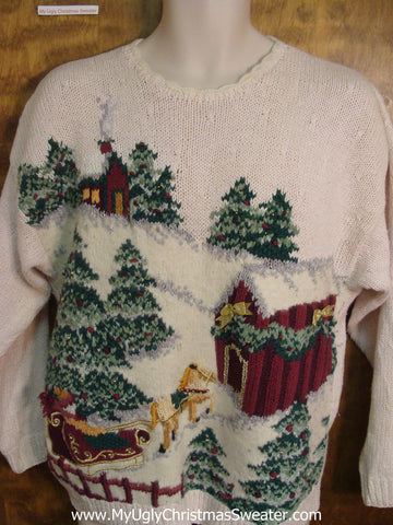 Horse Drawn Sleigh Ugly Sweater for Xmas