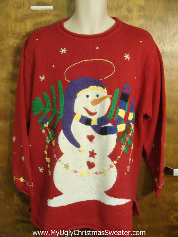 Snowman With His Christmas Tree Ugly Sweater for Xmas