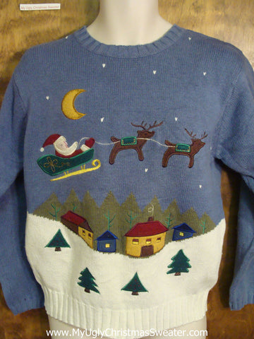 Santa Riding Back to the North Pole Ugly Sweater for Xmas