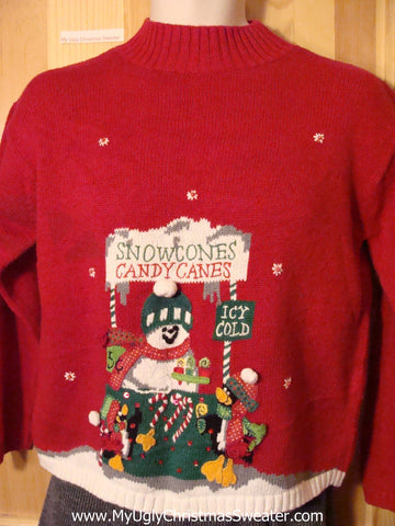 Tacky Cheap Ugly Christmas Sweater Snowman Selling Snowcones and Candy Canes (f563)
