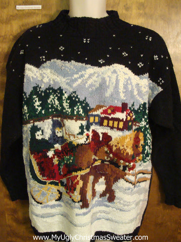 Snowy Sleigh Ride Ugly Sweater for Xmas