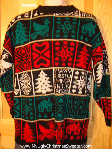 Tacky 80s Style Ugly Christmas Sweater with Festive Designs on Front, Back, and  Sleeves (f564)