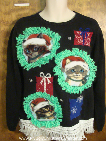 Cats and Their Presents Ugly Christmas Sweater