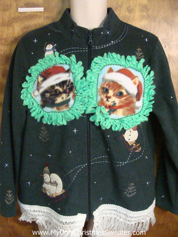 Cats with Their Snowmen Friends Ugly Christmas Sweater
