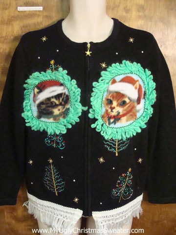 Cute Cats and Christmas Trees Ugly Christmas Sweater