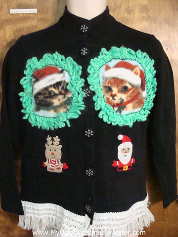 Santa With His Kittens Ugly Christmas Sweater
