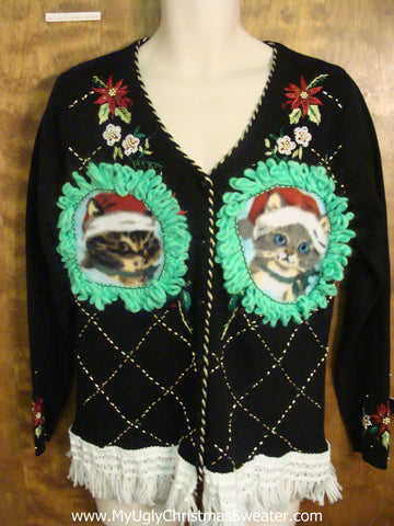 Tacky Kitten Ugly Christmas Sweater