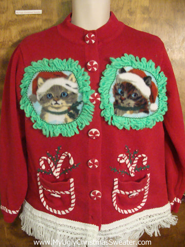 Kittens With Candy Canes Ugly Christmas Sweater