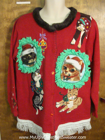 Best 2sided Crazy Cat Lady Ugly Christmas Sweater