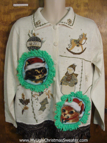 Holiday Favorites with Cats Ugly Christmas Sweater