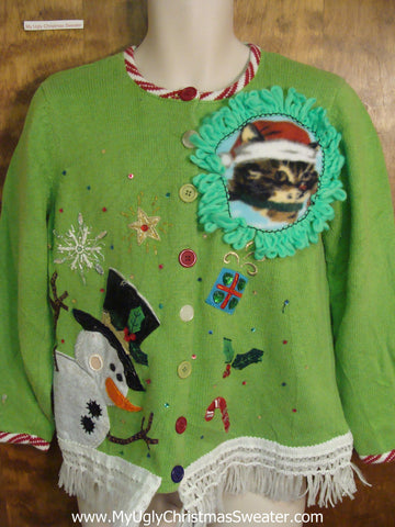 Corny Kitten Ugly Christmas Sweater
