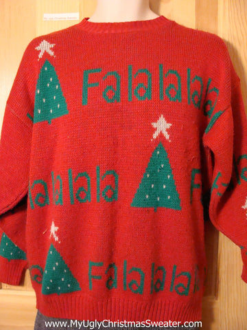 Tacky Classic 80s Ugly Christmas Sweater with Falalalala on Front, Back, and Sleeves (f566)
