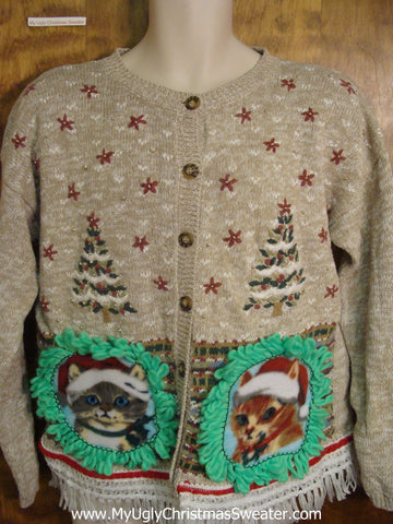 Tacky Trees with Kittens Ugly Christmas Sweater
