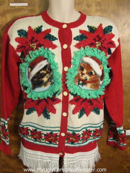 Kitten Christmas Sweater.Festive Poinsettia With Kitten Accents Ugly Christmas Sweater