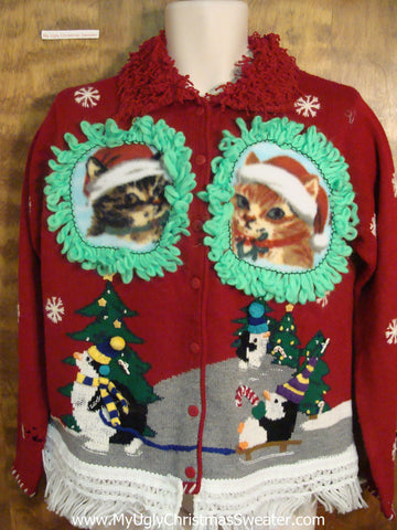 Penguins Sledding with Kittens Ugly Christmas Sweater