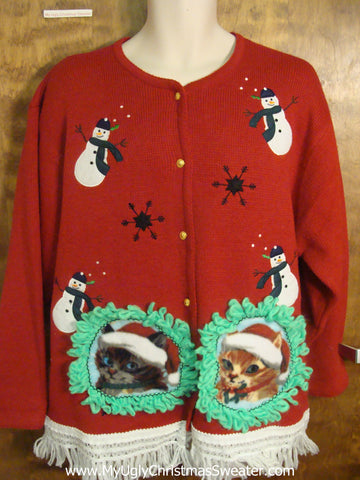 Dancing Snowmen and Kittens Ugly Christmas Sweater