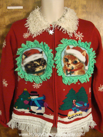 Festive Sledding Scene with Kittens Ugly Christmas Sweater