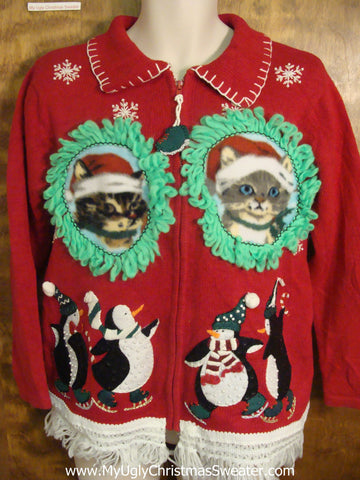 Penguins Skating with Santa Kittens Ugly Christmas Sweater