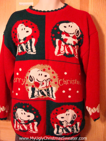Tacky 80s Snoopy Ugly Christmas Sweater (f567)