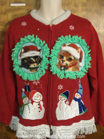 Happy Snowmen Friends with Kittens Ugly Christmas Sweater