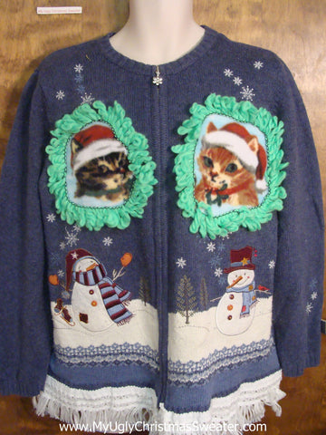 Snowman Pair with Kittens Ugly Christmas Sweater