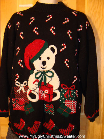 Tacky 80s Ugly Christmas Sweater with Bear, Candy Canes, Gifts, and Stockings  (f568)