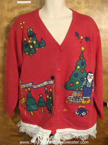 Santa in his Workshop Ugly Christmas Sweater