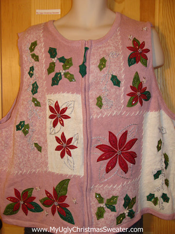 Tacky 80s Style Pink Ugly Christmas Sweater Vest with Poinsettias and Bling (f569)