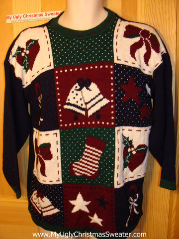Tacky Ugly Christmas Sweater 80s Classic Grid Pattern Bells and Bows (f56)