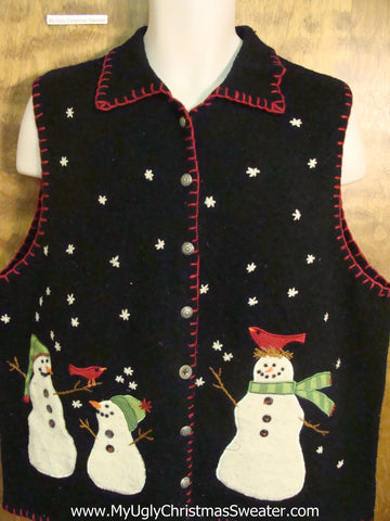 Snowman Family with Robin Birds Ugly Christmas Jumper Vest