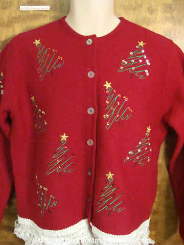 Festive Bling Xmas Trees Ugly Christmas Jumper