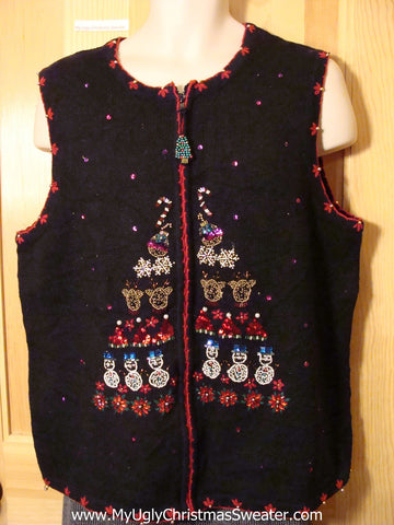 Tacky Cheap Ugly Christmas Sweater Vest with Serious Bling (f571)