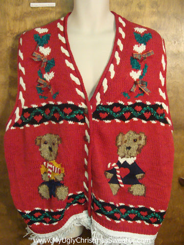 Teddy Bears with Candy Canes Ugly Christmas Jumper Vest