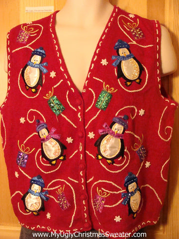 Tacky Cheap Ugly Christmas Sweater Vest with Penguins and Gifts (f572)