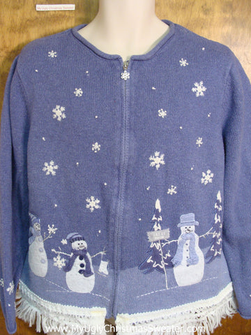 Blue Snowmen Ugly Christmas Jumper