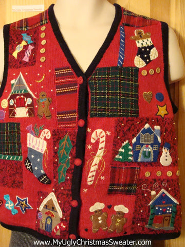 Tacky Cheap Ugly Christmas Sweater Vest with Gingerbread Theme  (f573)