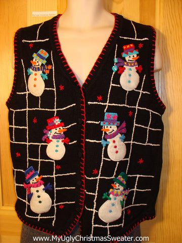 Tacky Cheap Ugly Christmas Sweater Vest with Snowmen (f574)