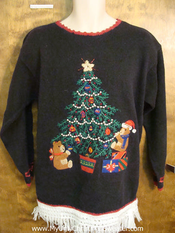 Teddy Bear Decorating Tree Ugly Christmas Jumper