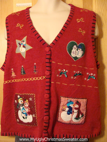 Tacky Cheap Ugly Christmas Sweater Vest with Crafty Hearts, Stars, and Snowmen (f575)